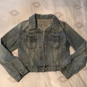 Old Navy Beaded Embroidered Distressed Jean Jacket